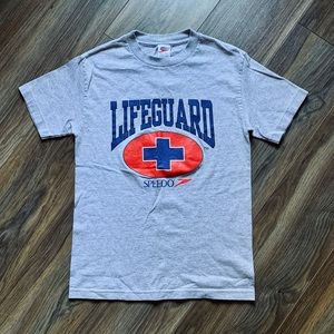 Vintage Speedo Lifeguard Graphic Tee Shirt